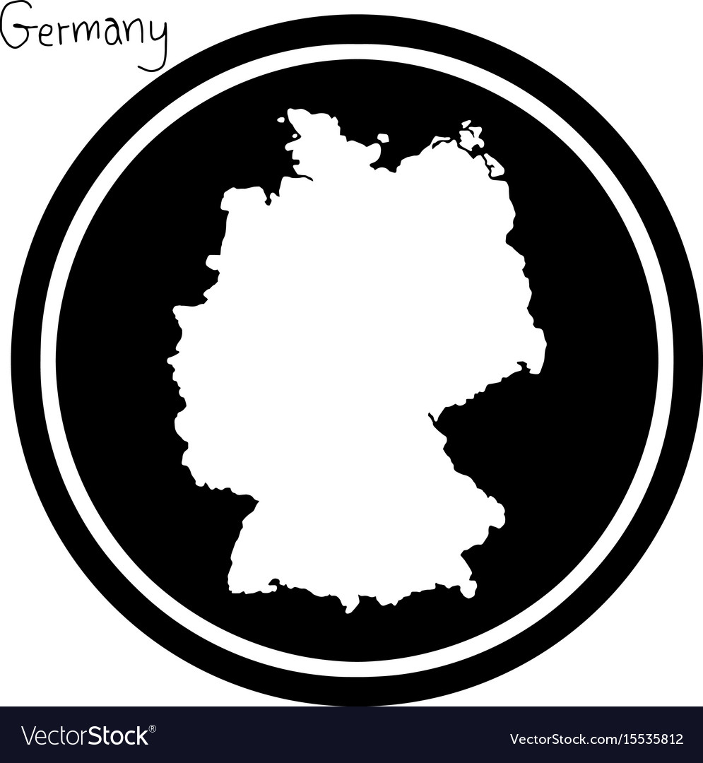 White map of germany on black circle vector image