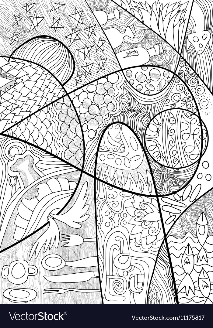 Abstract Line Art With Doodle And Zentagle Style