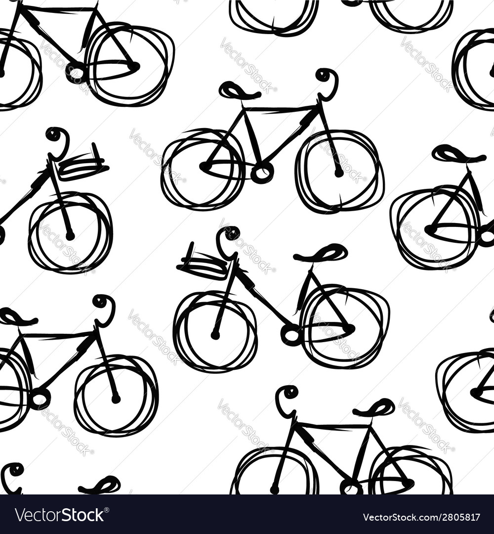 Bicycle sketch seamless pattern for your design
