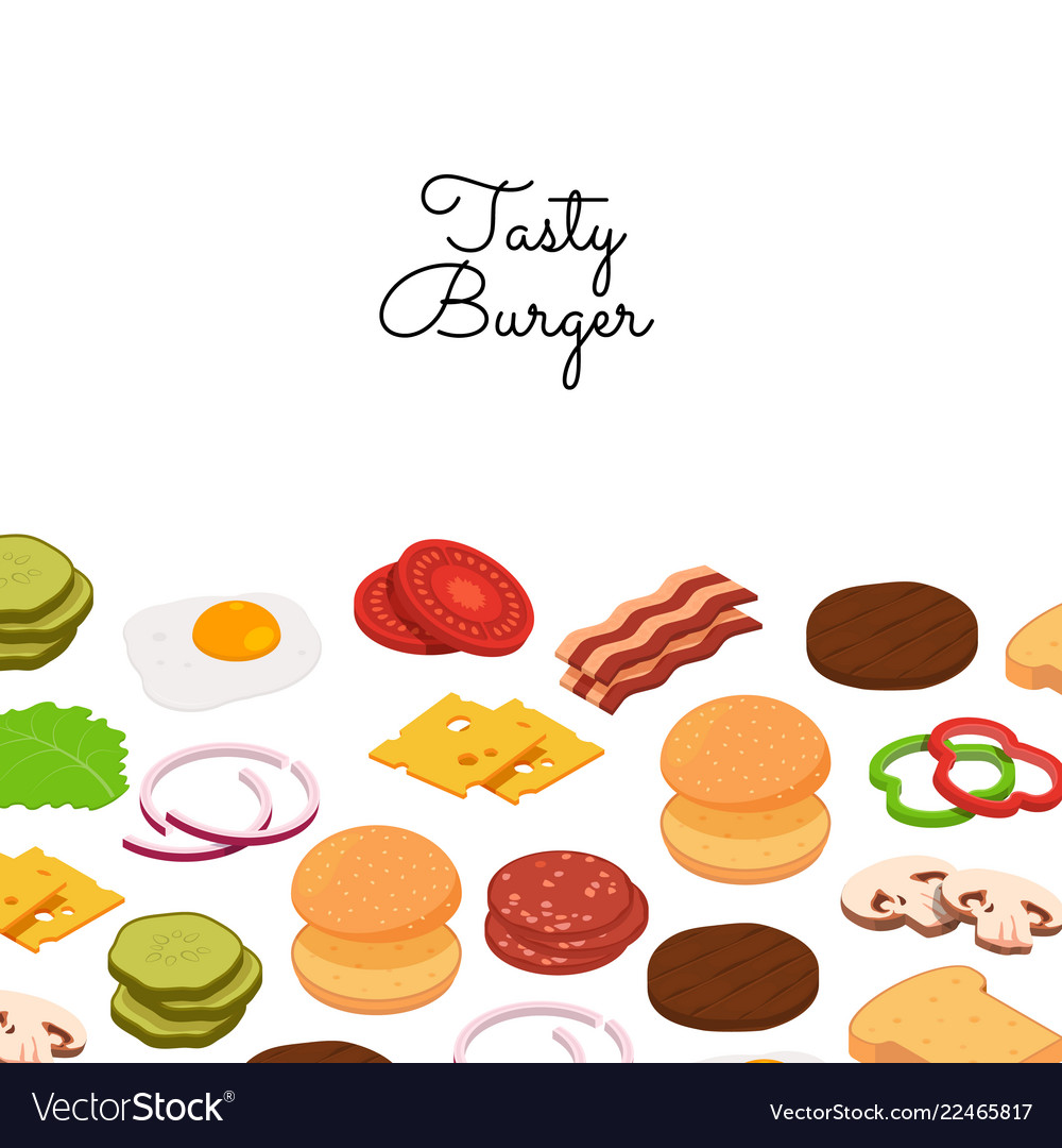 Burger ingredients background with place