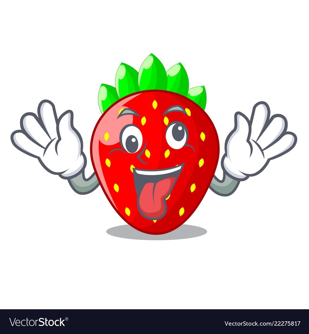 Crazy fresh strawberry in a bowl cartoon