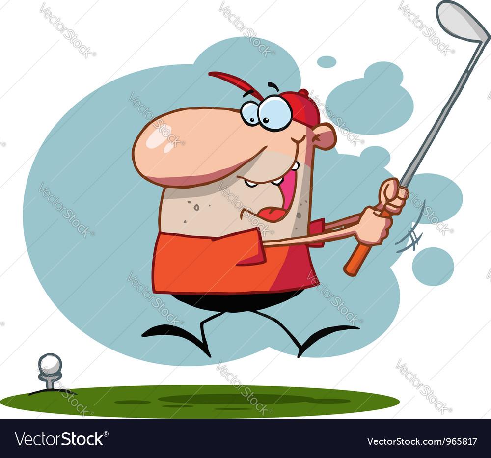Happy Man Swings Golf Club