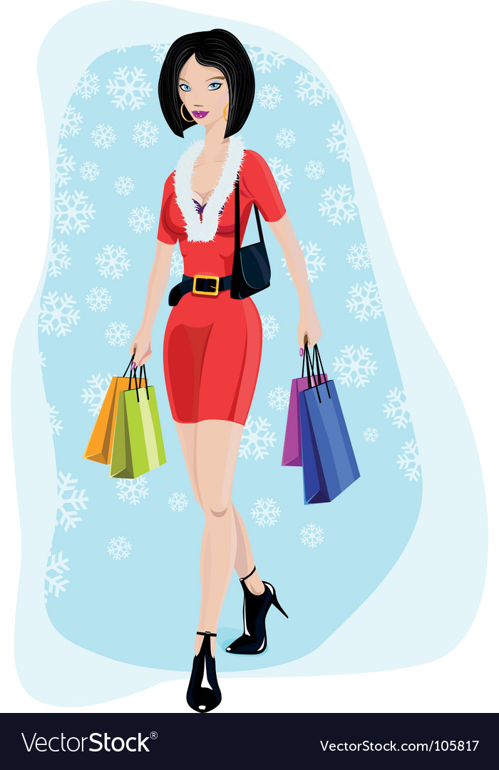 Sexy young lady shopping vector image