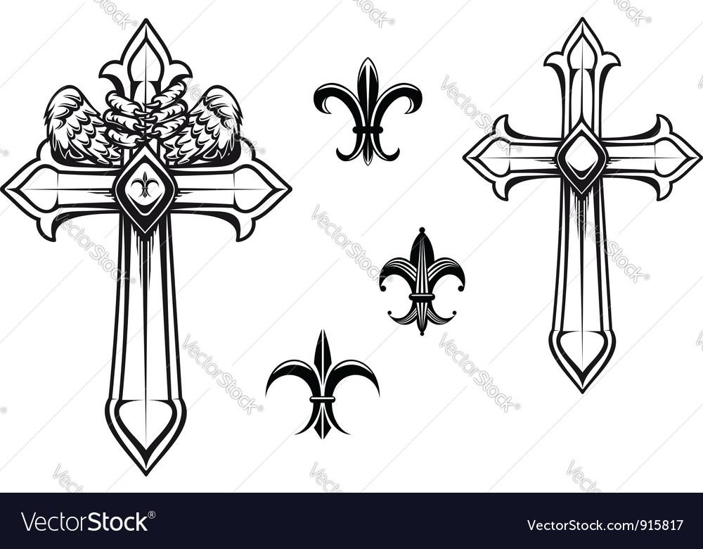 Vintage stone cross with heraldic elements vector image
