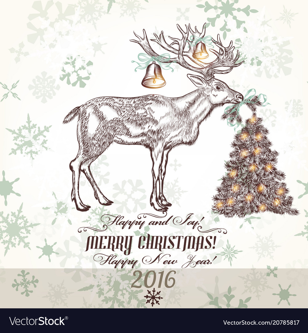Xmas greeting card with north deer bells
