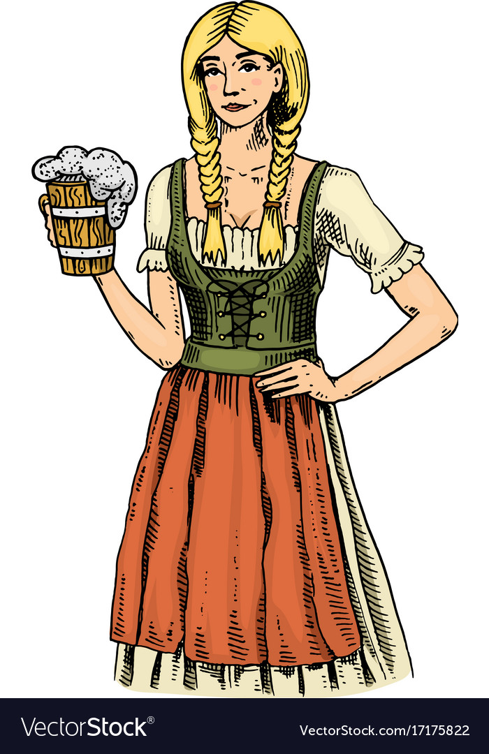 A woman in traditional belgian or bavarian clothes