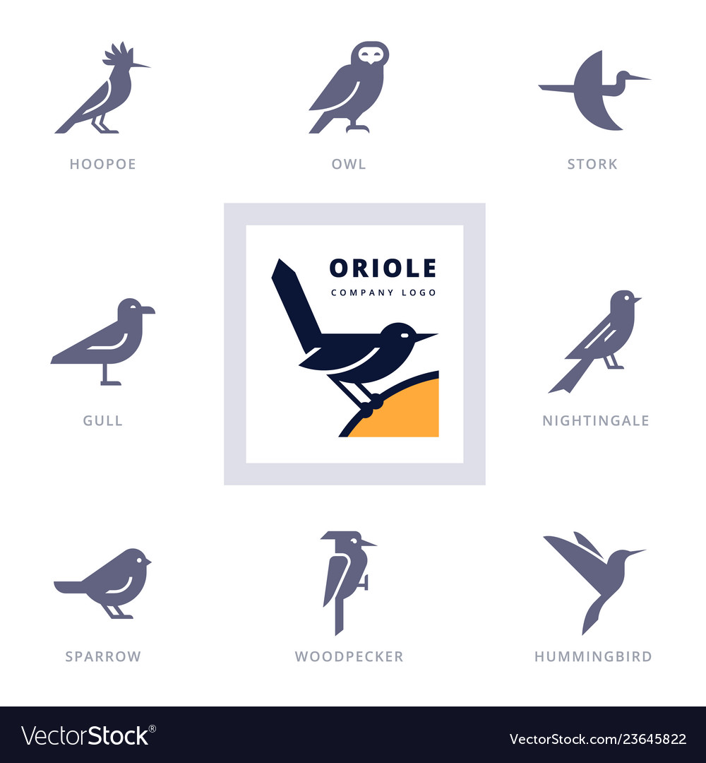 Birds icon set for sign our company