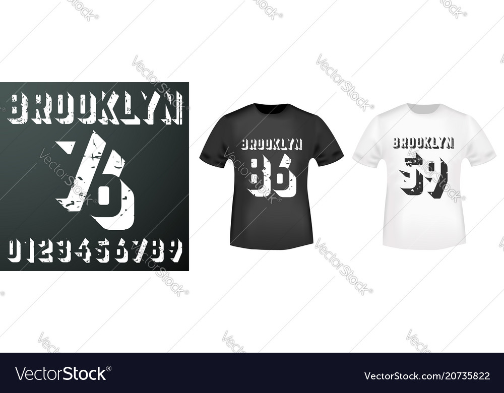 Brooklyn numbers stamp and t shirt mockup