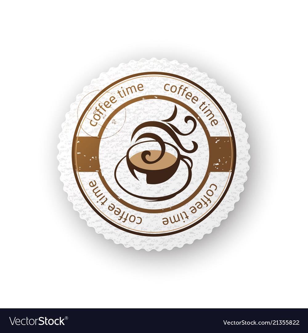 Coffee round paper emblem