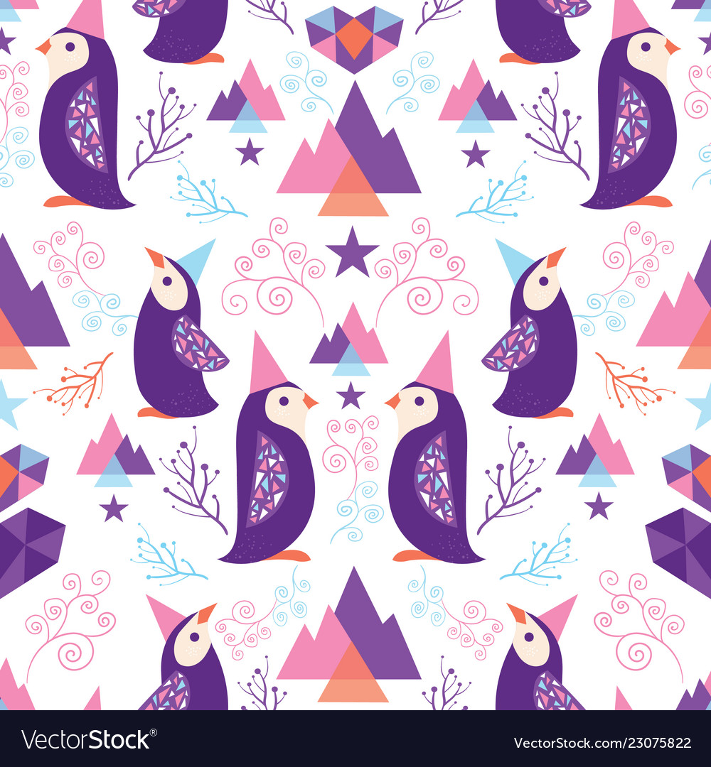 Colorful penguins in santa hats seamless pattern