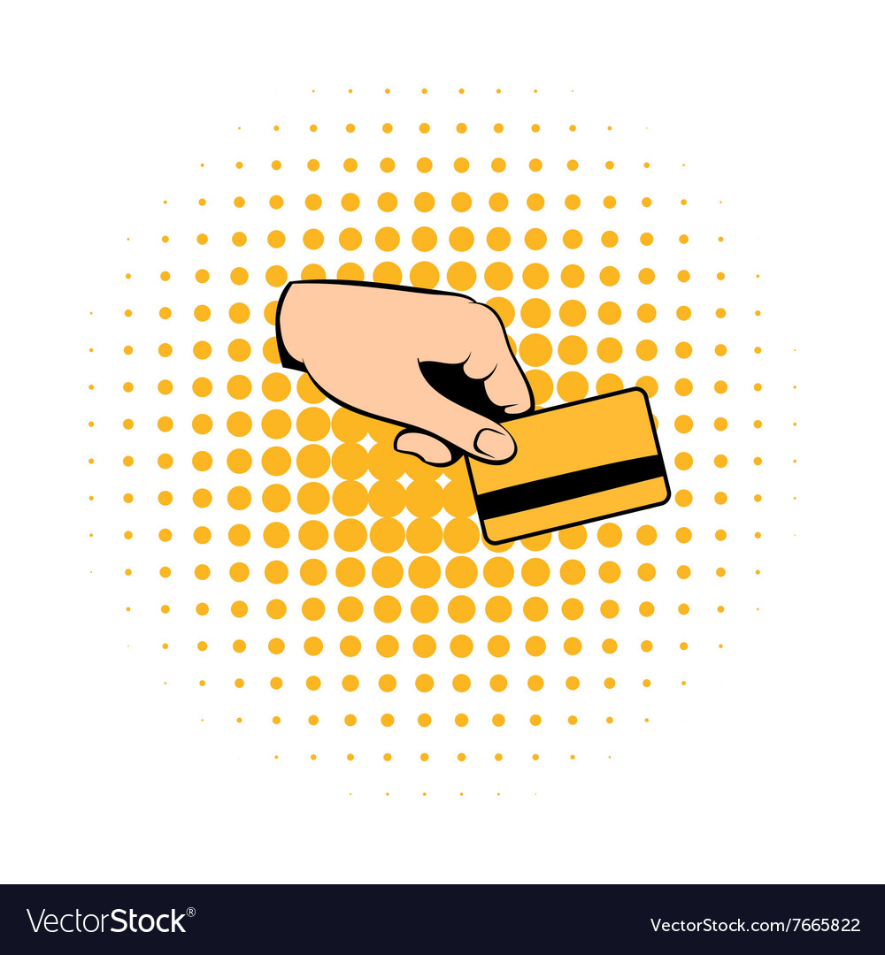 Credit card in hand comics icon