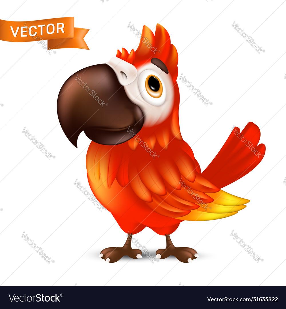 Cute ara parrot with big beak cartoon tropical