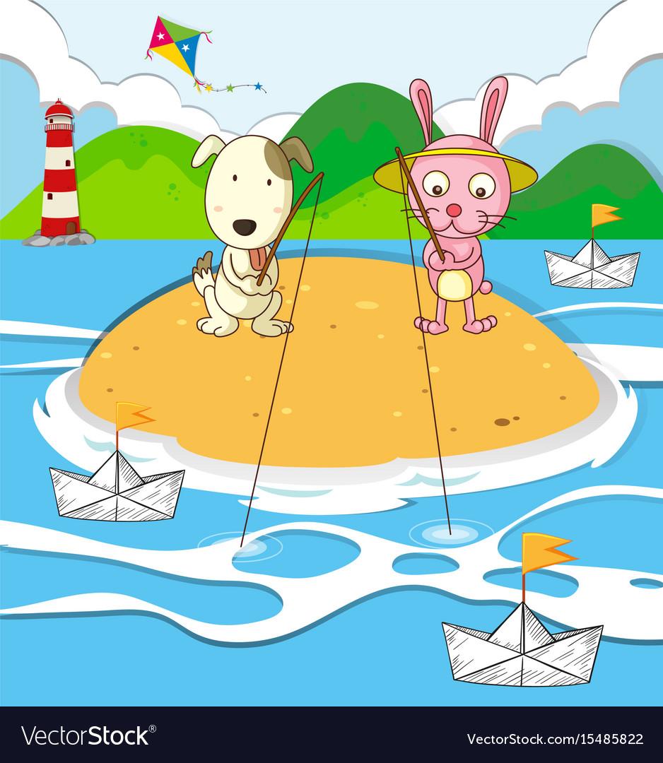 Dog and rabbit fishing on island