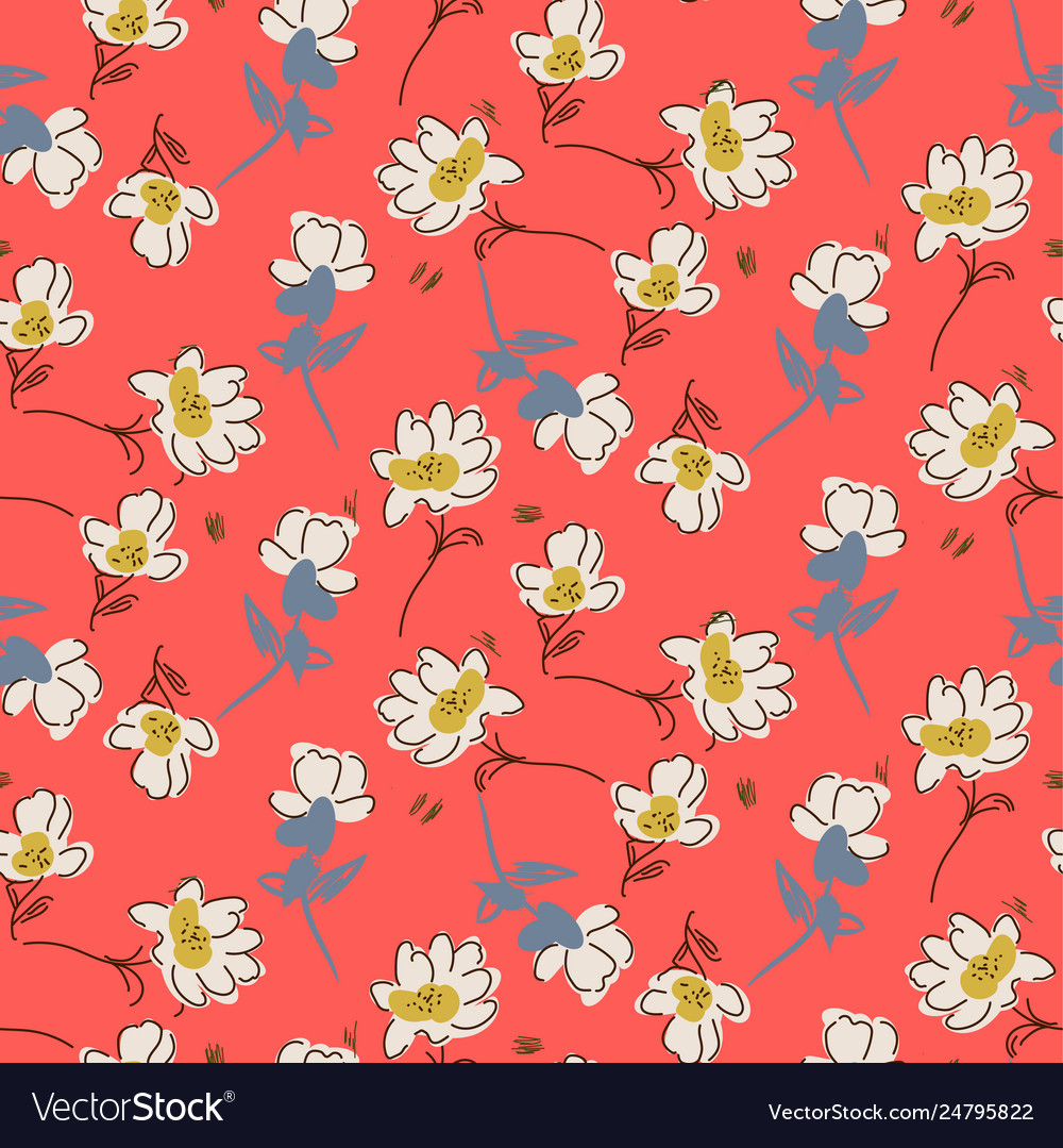 Hand drawn flowers bright colors seamless