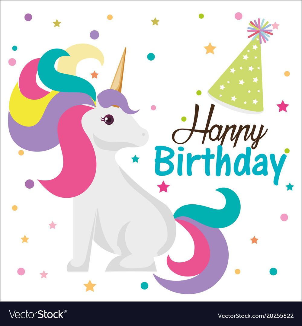 Happy Birthday Card With Unicorn Character Vector Image