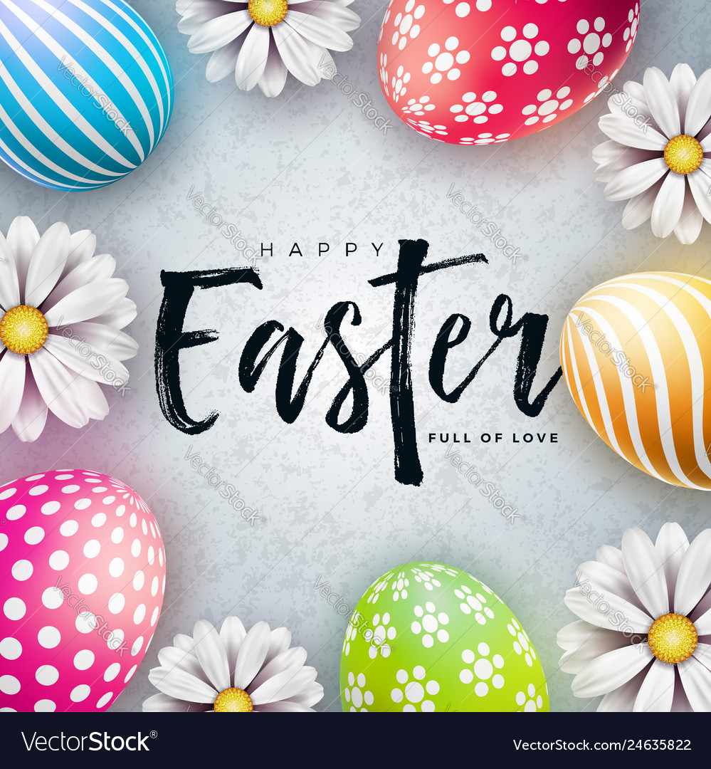 Happy easter with colorful painted