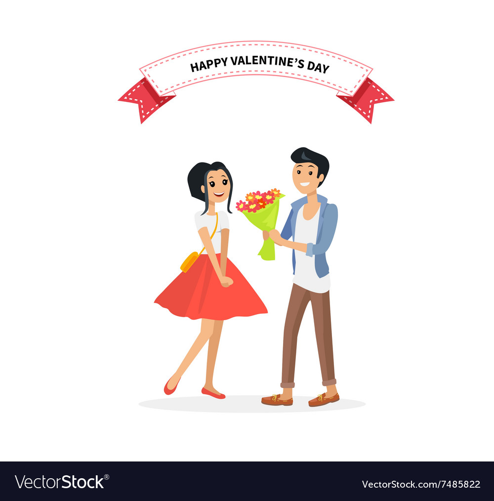 Happy Valentine Day Couple Man Give Flower Woman Vector Image