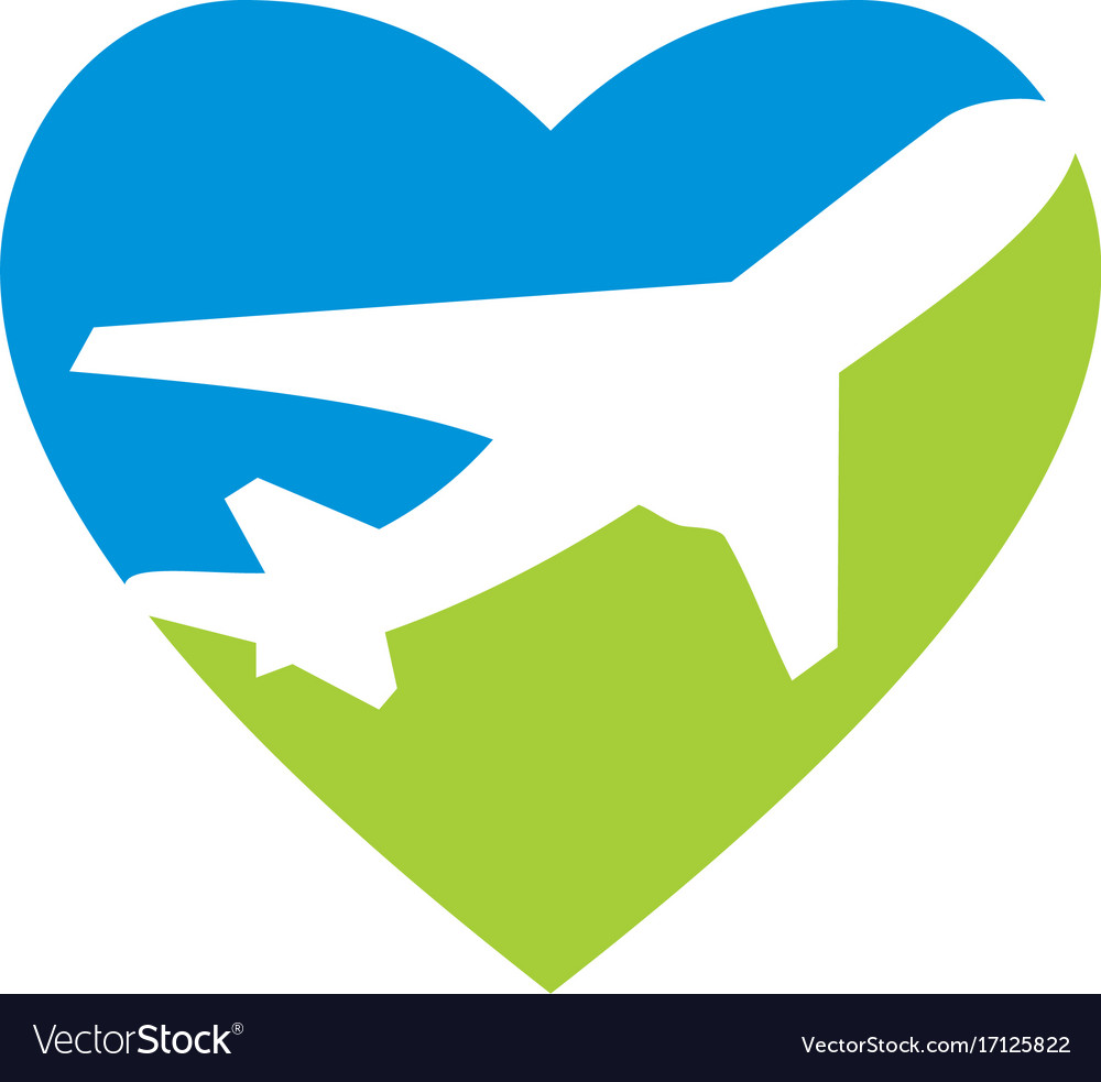 Love travel airplane logo