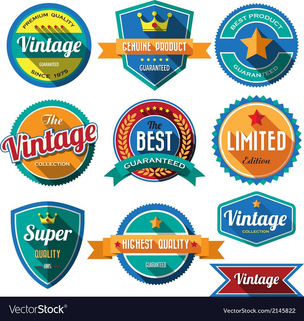 Set of retro vintage badges and labels Flat design