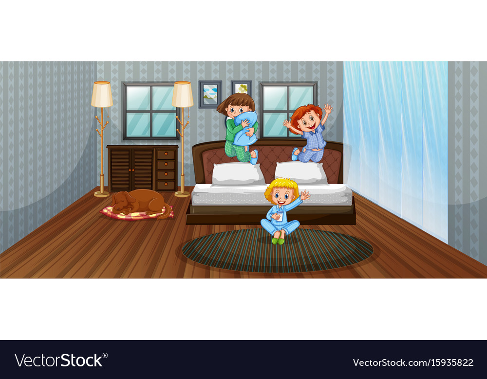 Three kids having fun in bedroom vector image
