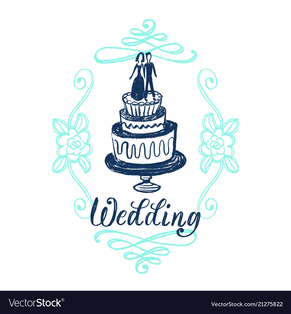 Wedding invitation card with hand lettering