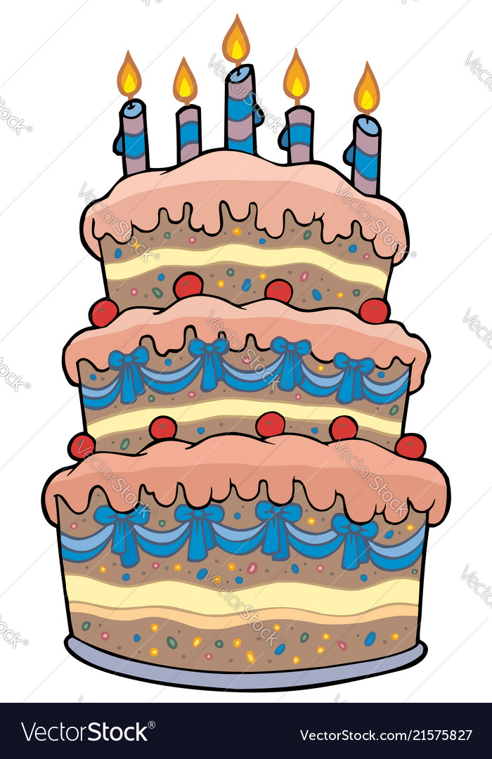 Big Cartoon Cake With Candles Vector Image