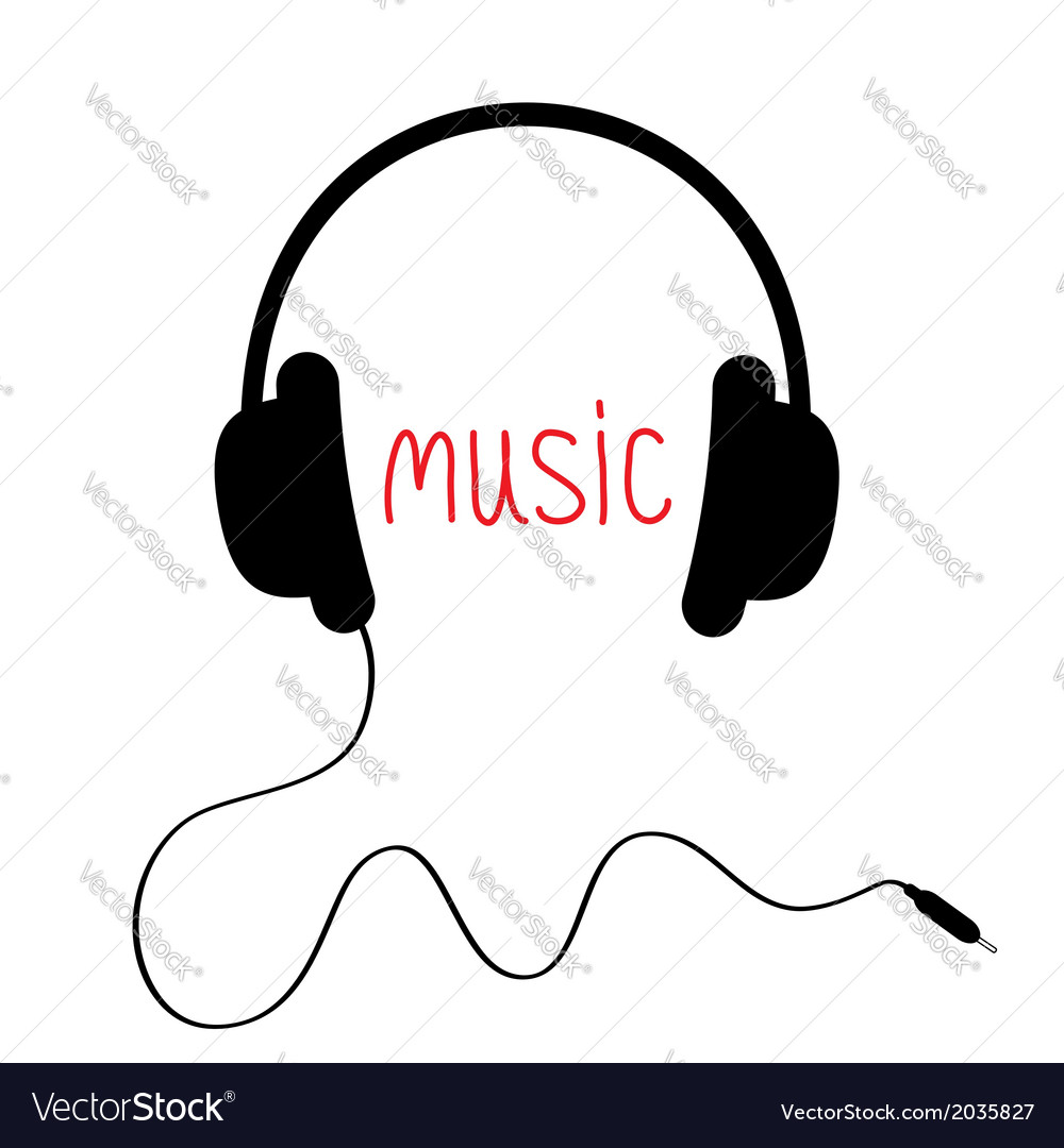 Black headphones with cord and red word Music Card vector image
