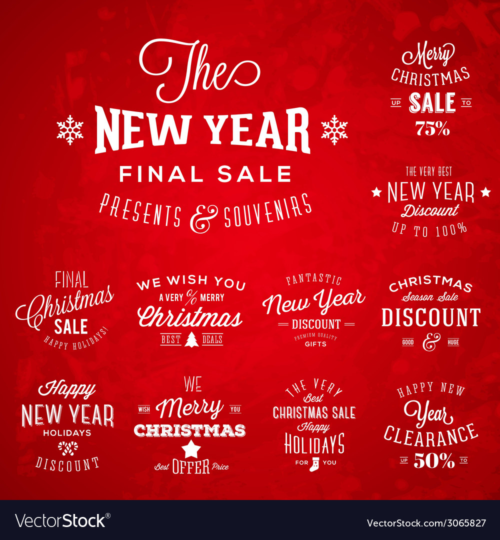 Christmas and New Year Vintage Typography Labels vector image