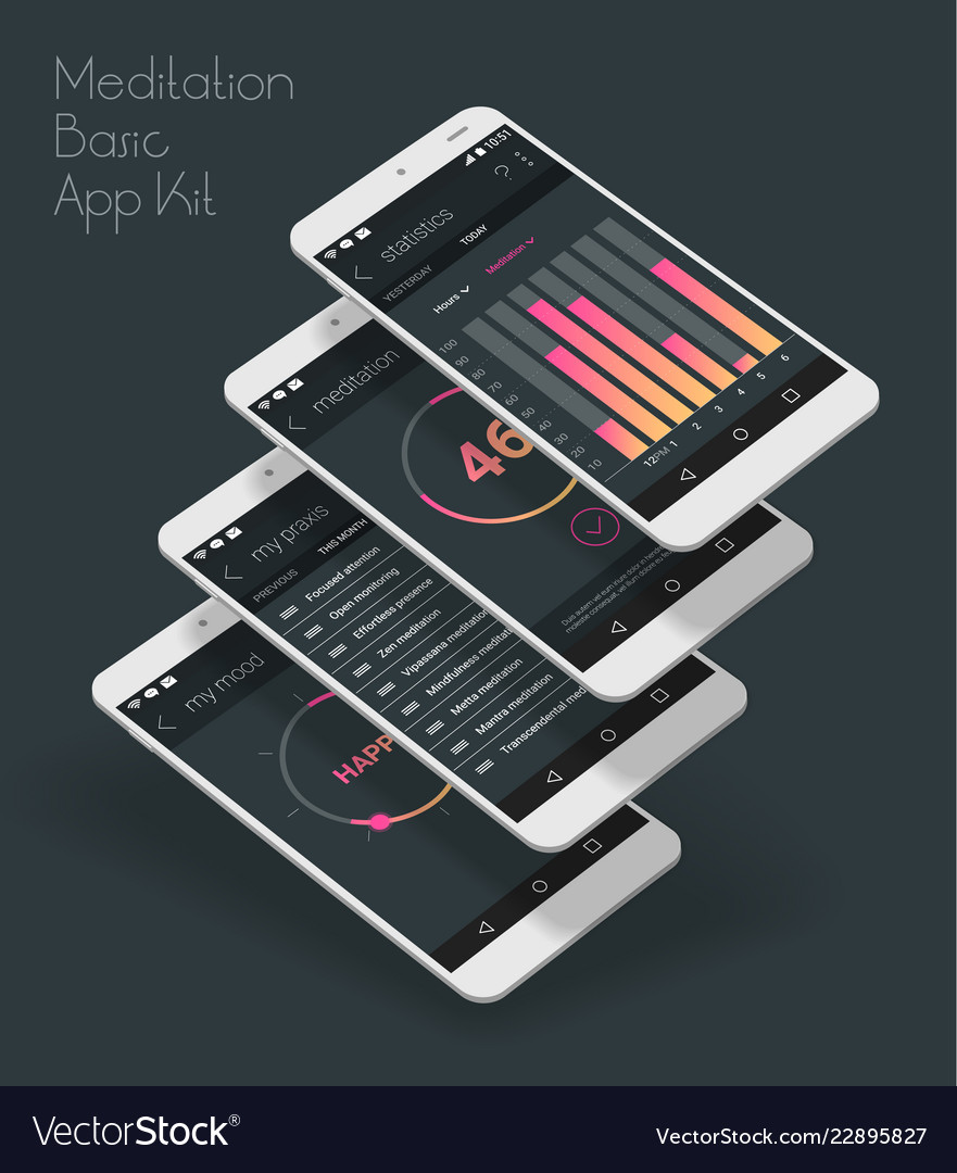 Flat design responsive ui mobile app with 3d