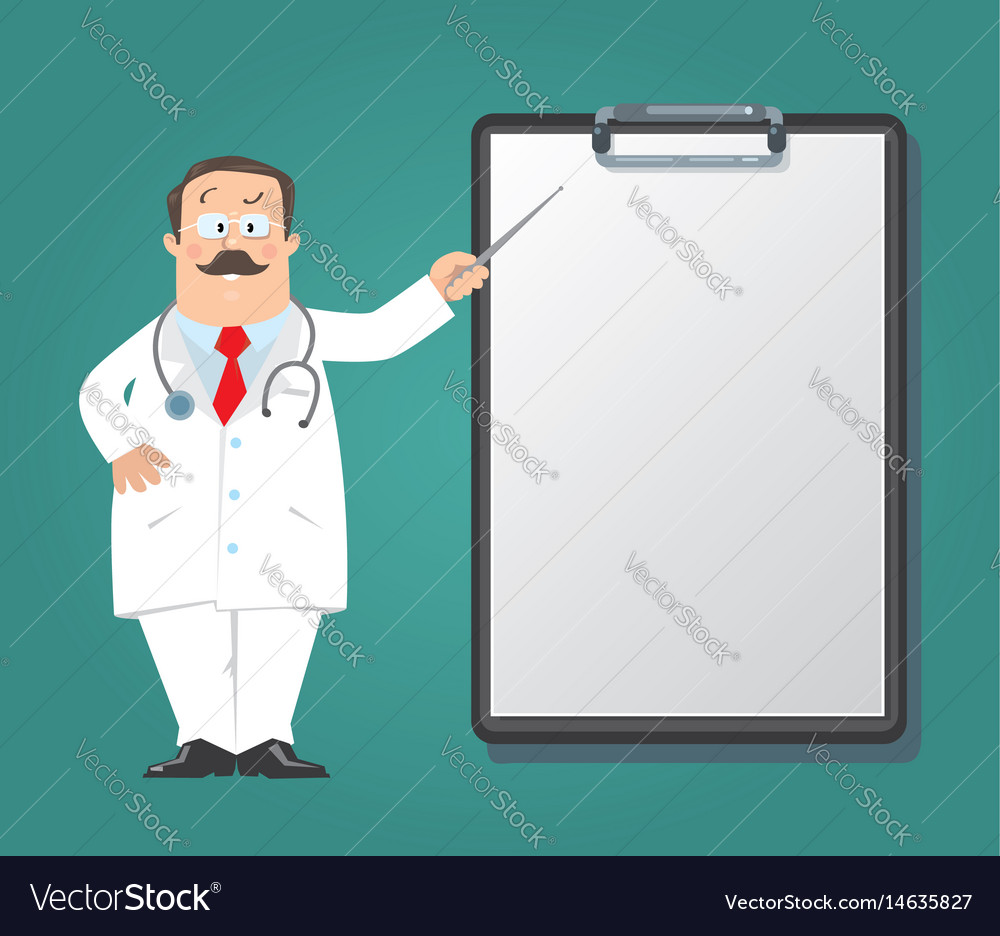 Funny doctor with clipboard design template Vector Image