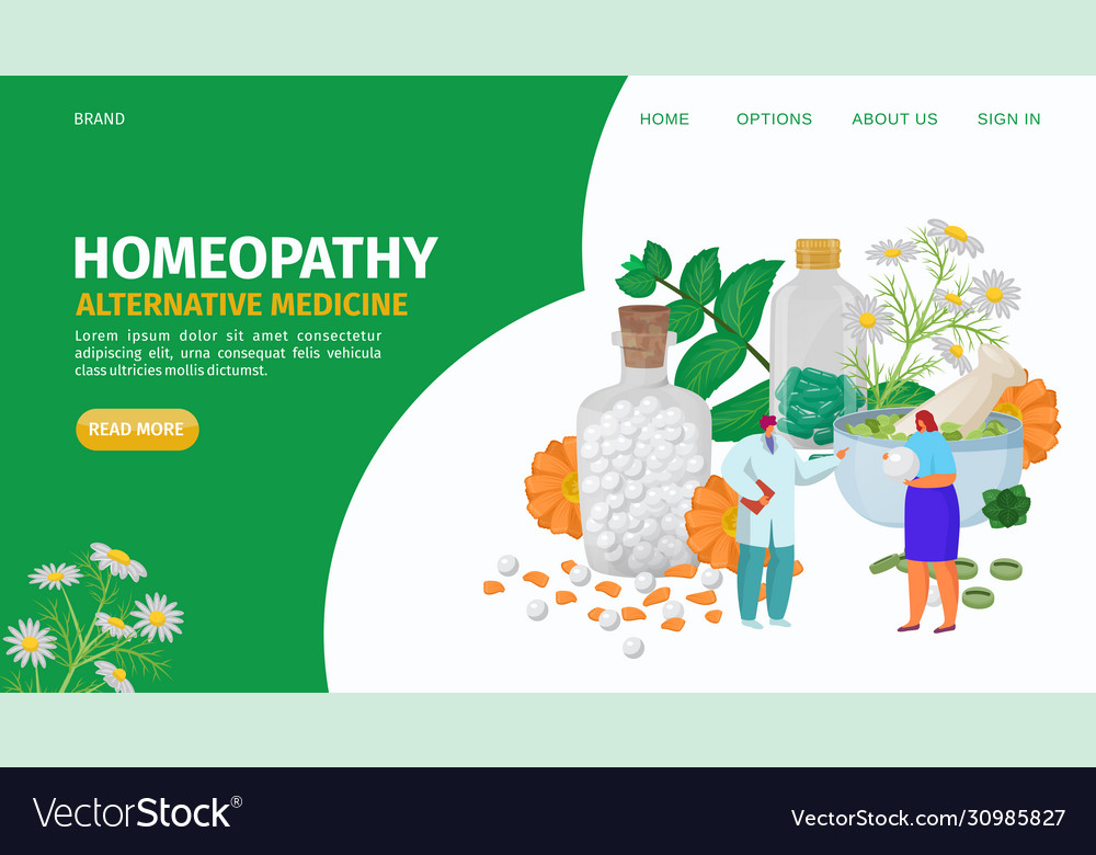Homeopathy Alternative Herbs Medicine Landing Vector Image