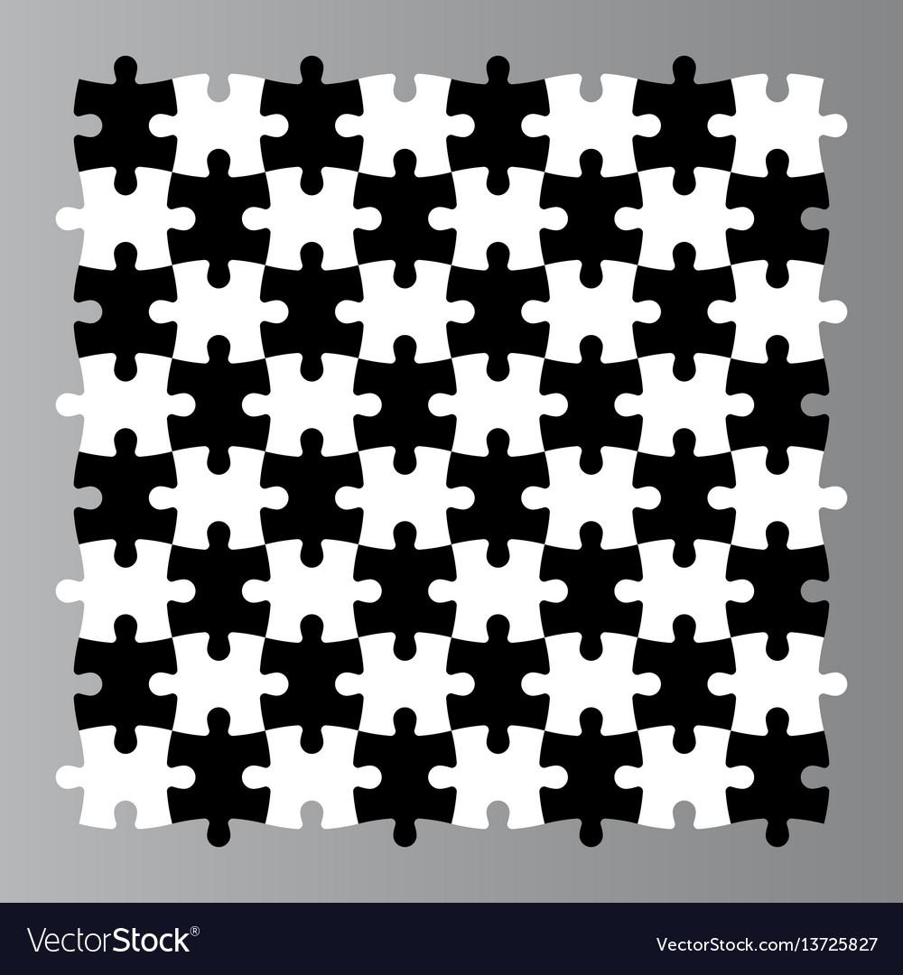 Jigsaw puzzle seamless background mosaic of black