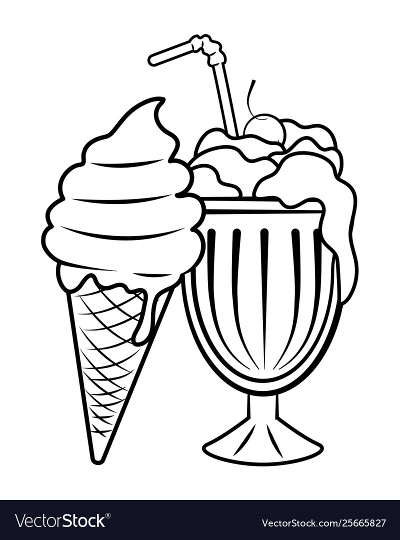 milk shake and ice cream black and white vector image vectorstock