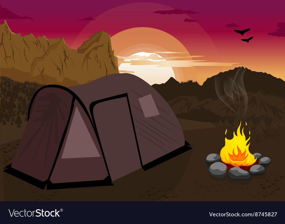 Mountain landscape with camping tent and campfire vector image