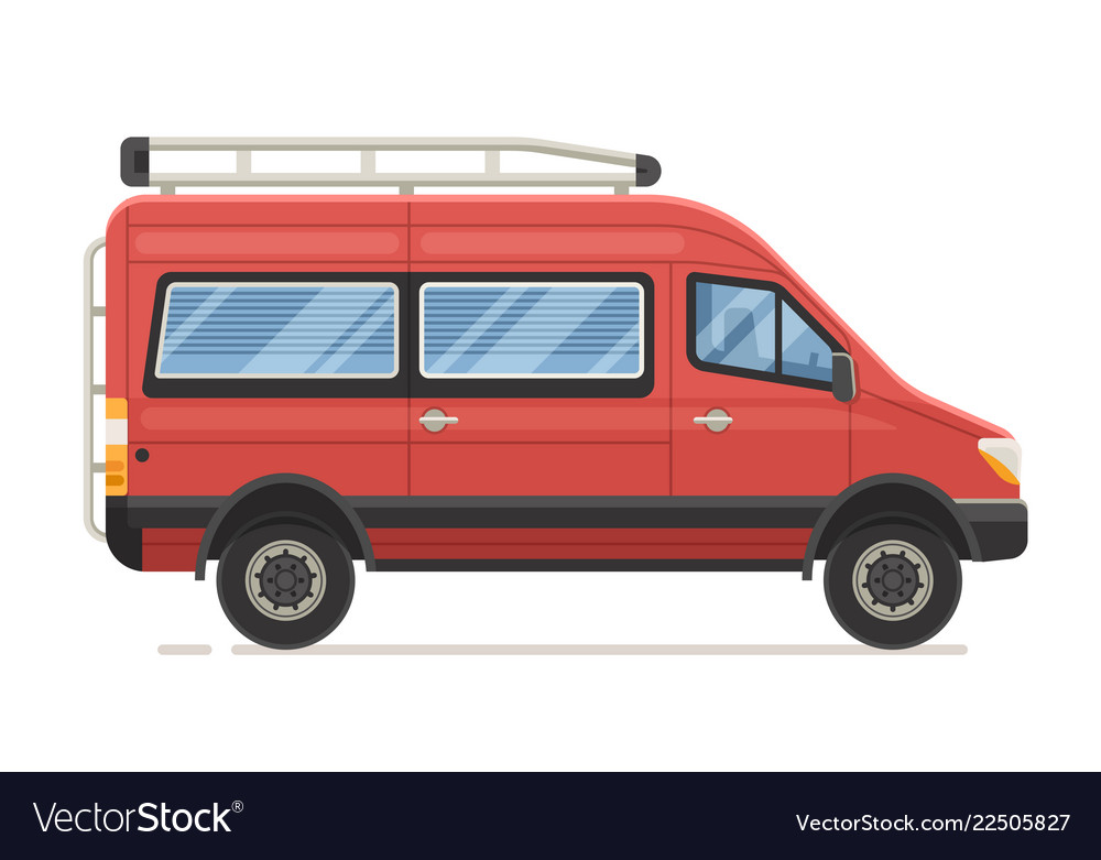 Red family minivan in flat design