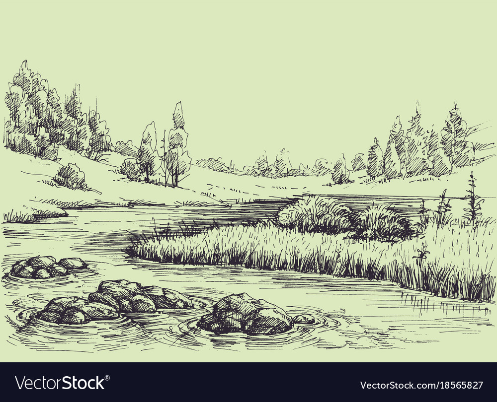 River flow nature landscape