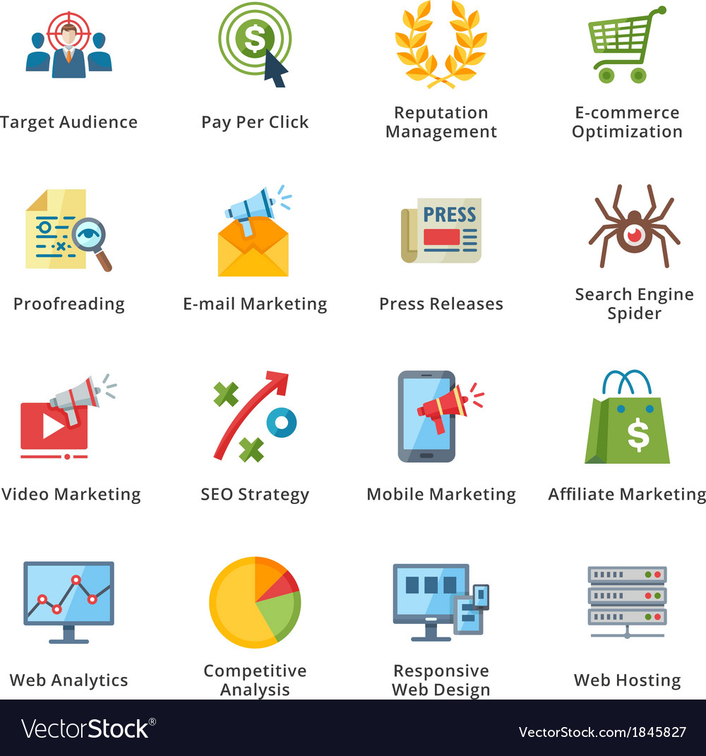 SEO and Internet Marketing Flat Icons - Set 3