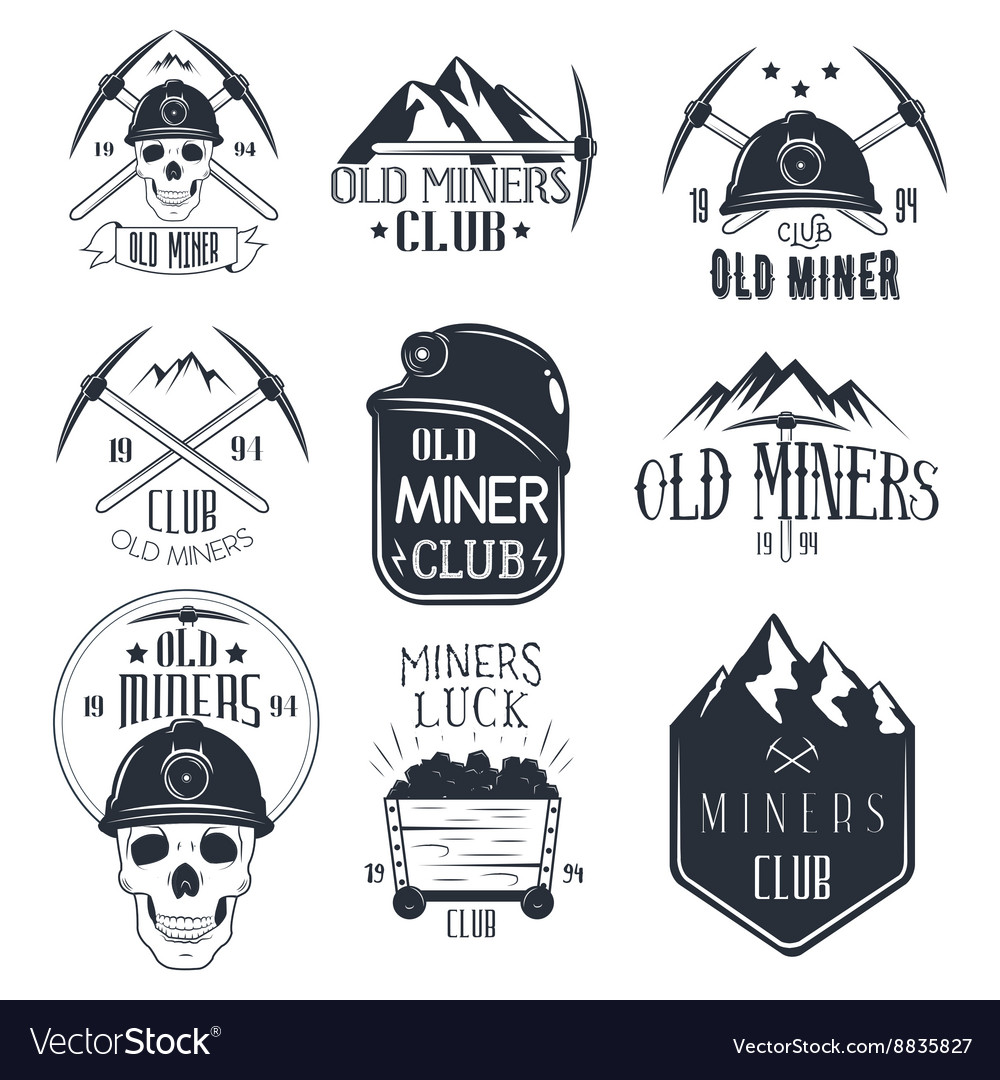 Set of mining labels in vintage style Gold vector image