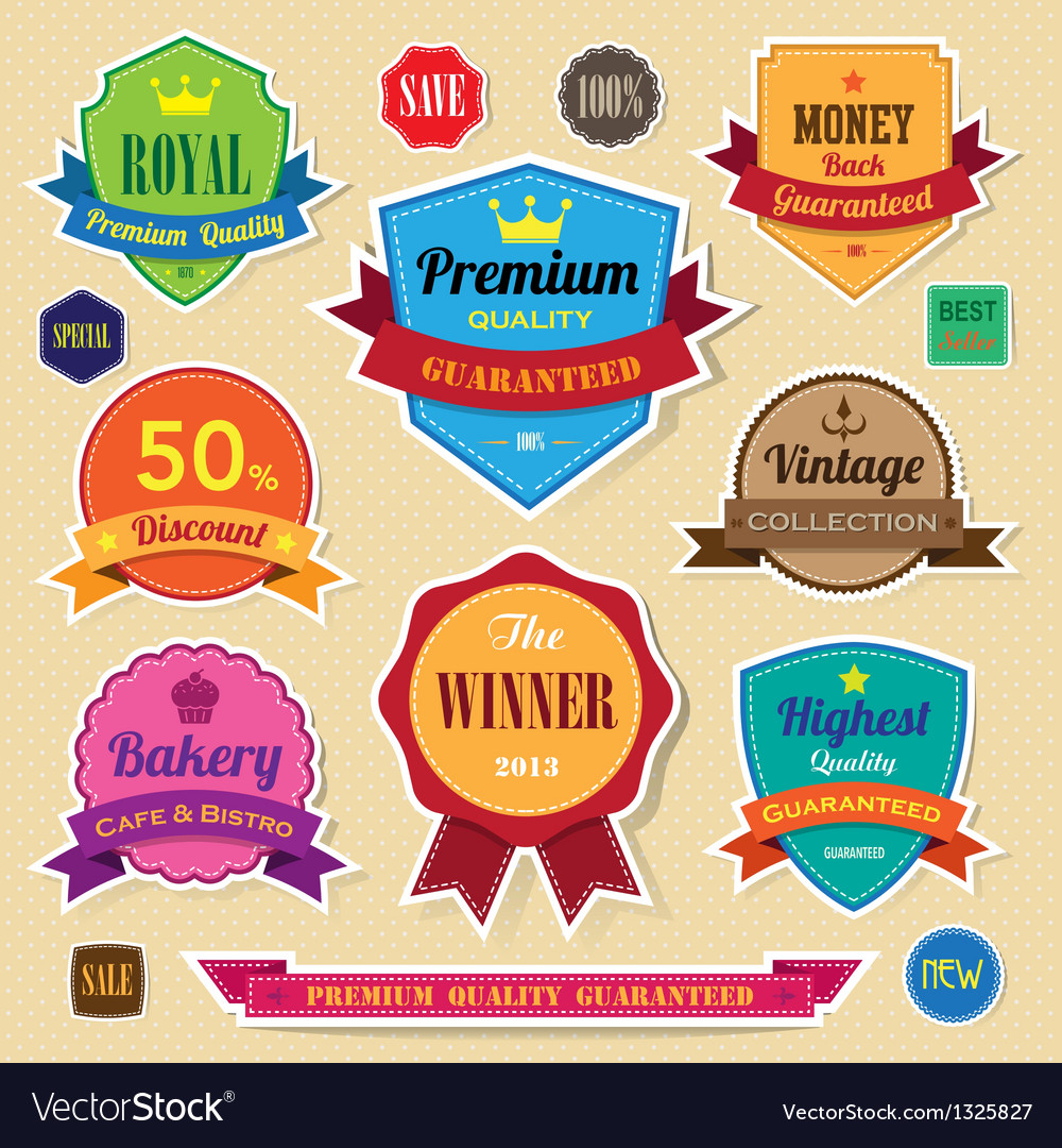 Set of retro vintage sticker badges and labels eps vector image