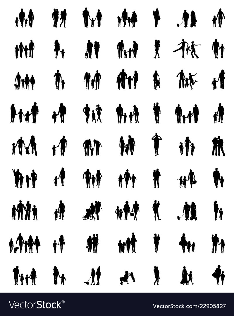Silhouettes of families in walking
