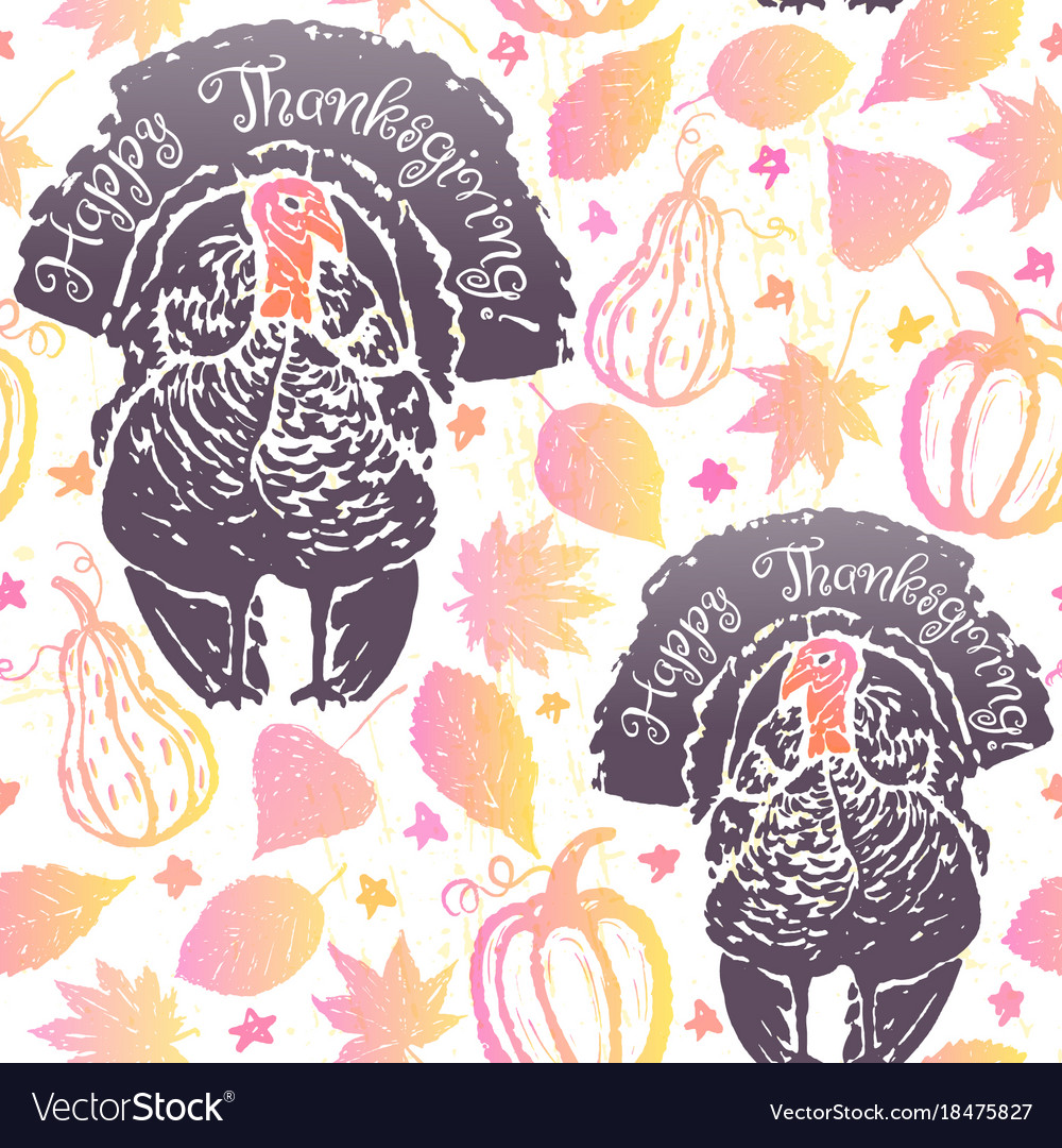 Thanksgiving seamless pattern with turkeys