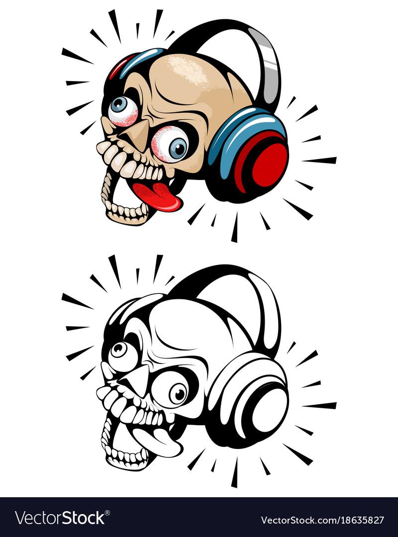Two skulls with headphones vector image