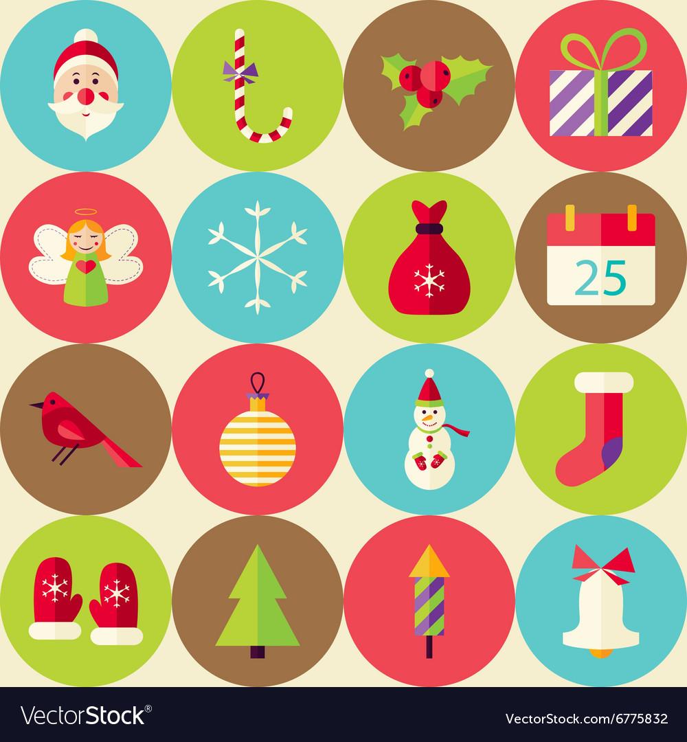 Beige Flat Merry Christmas Seamless Pattern Set