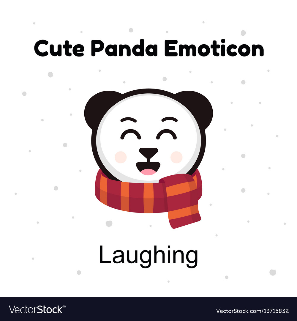 Cute cartoon emoticon baby panda laughing emoji