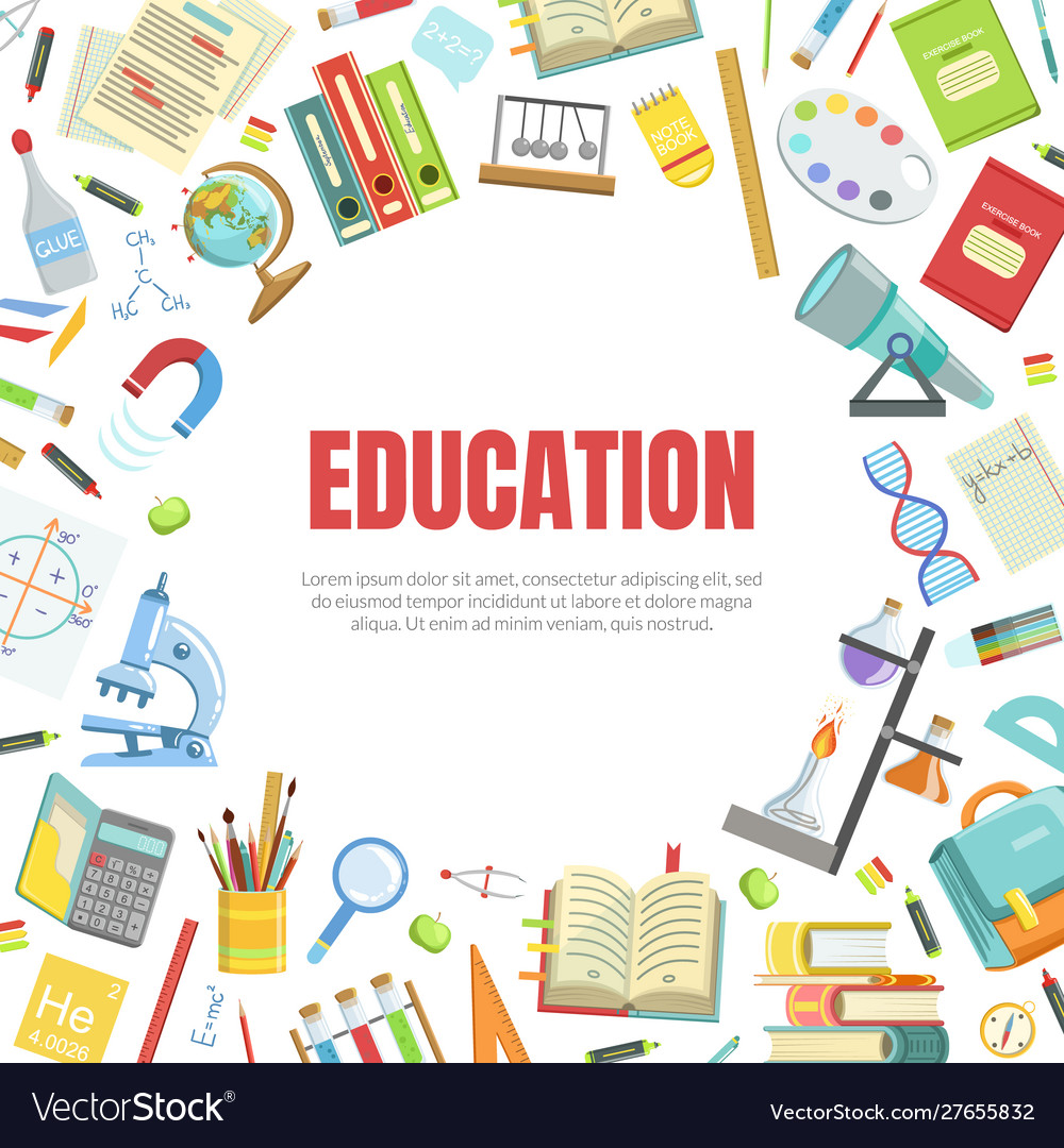 Education Banner Template With School Supplies And