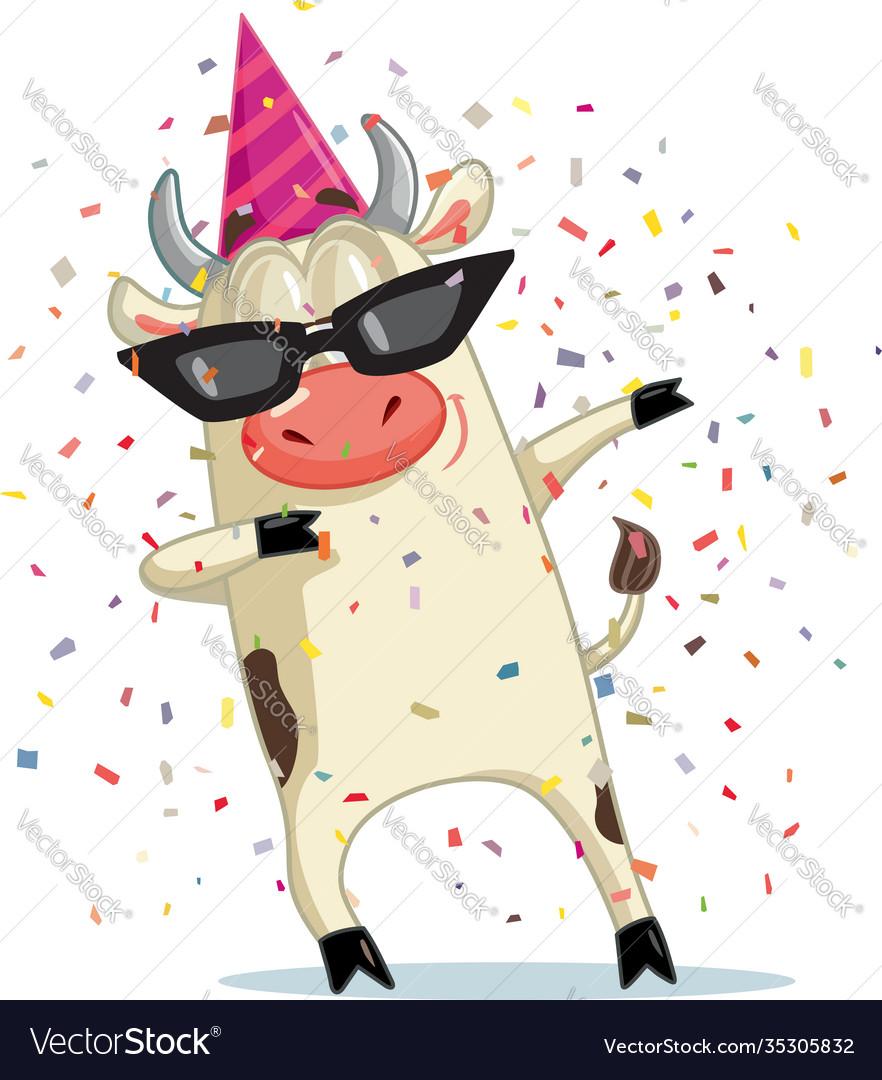Funny party ox dabbing cartoon
