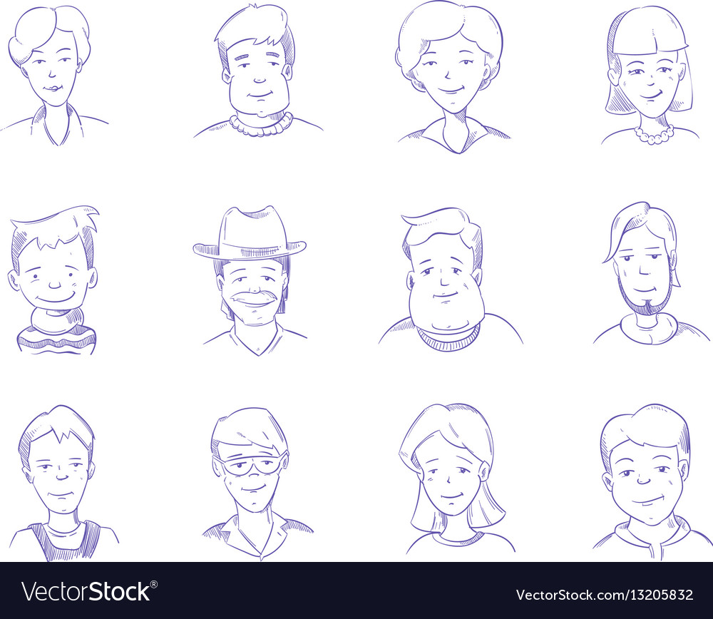Hand drawn people characters portrait avatars