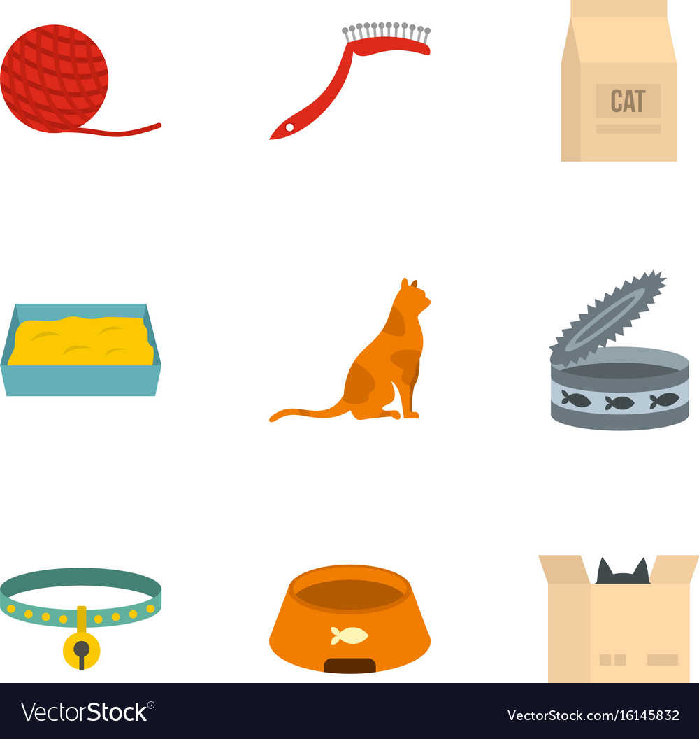 Happy cat life icons set cartoon style