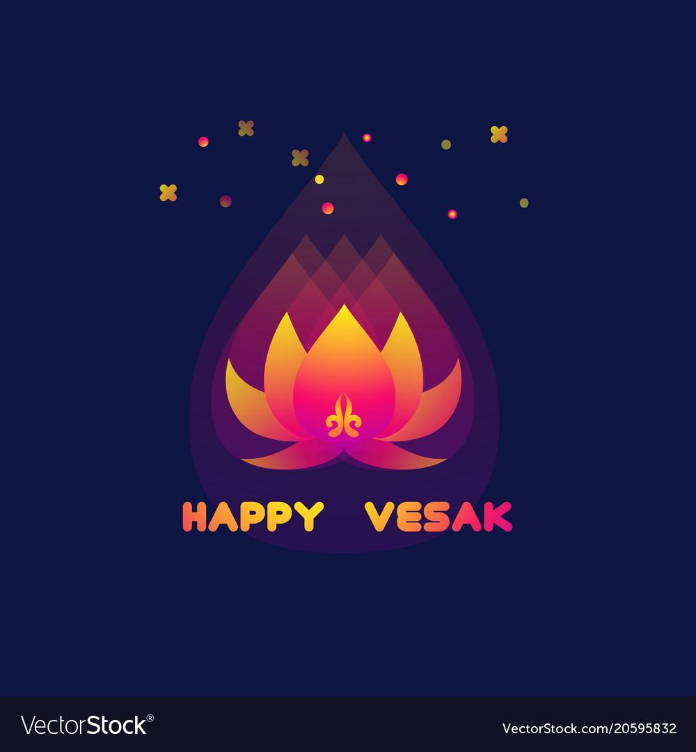 Happy Vesak Day Card With Lotus Royalty Free Vector Image