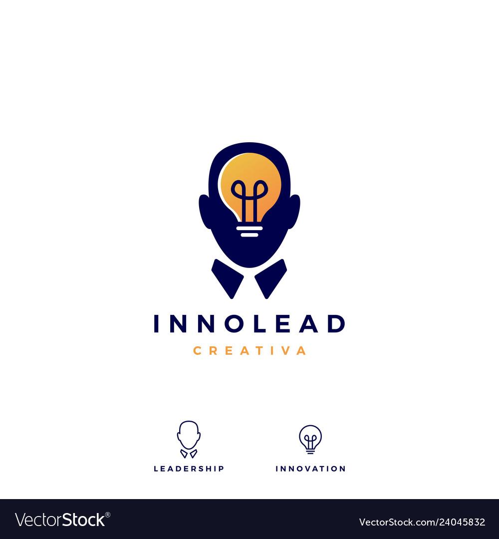 Human head bulb lamp idea think logo icon